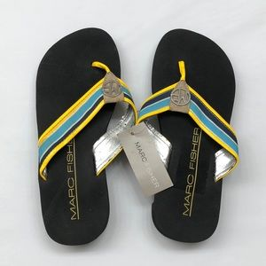 NEW Marc Fisher blue multi fabric sandals